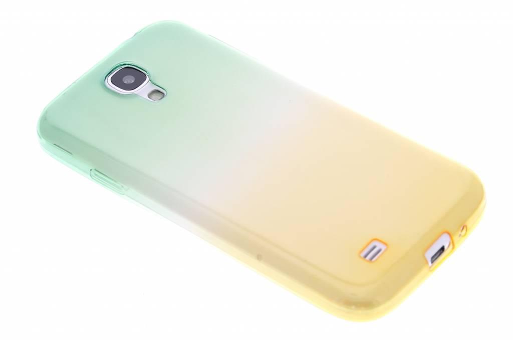 Groen/geel tweekleurig transparant TPU siliconen hoesje voor de Samsung Galaxy S4