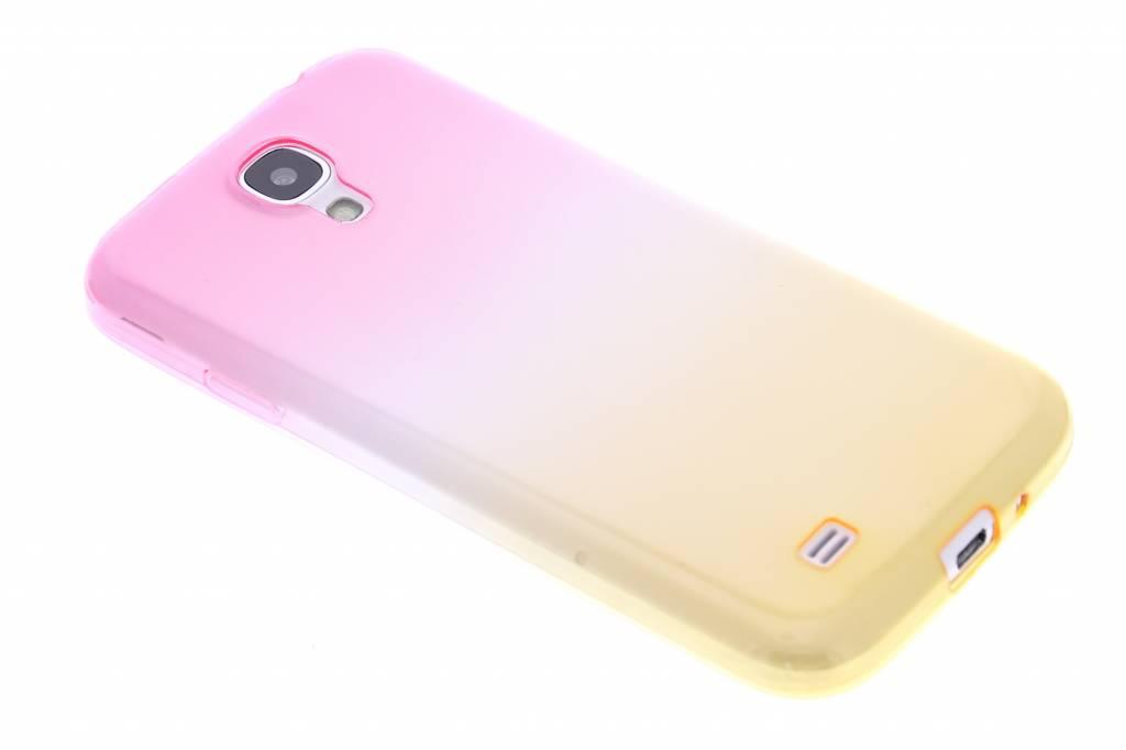 Roze/geel tweekleurig transparant TPU siliconen hoesje voor de Samsung Galaxy S4