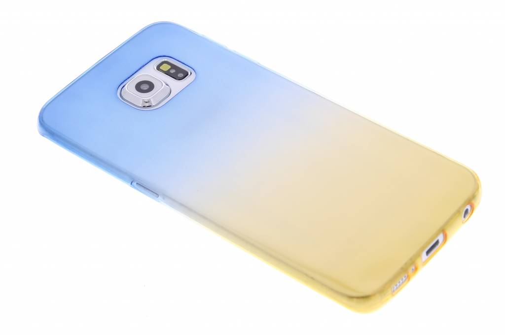 Blauw/geel tweekleurig transparant TPU siliconen hoesje voor de Galaxy S6 Edge