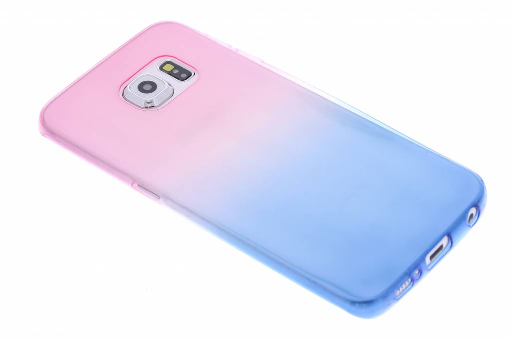 Roze/blauw tweekleurig transparant TPU siliconen hoesje voor de Samsung Galaxy S6 Edge
