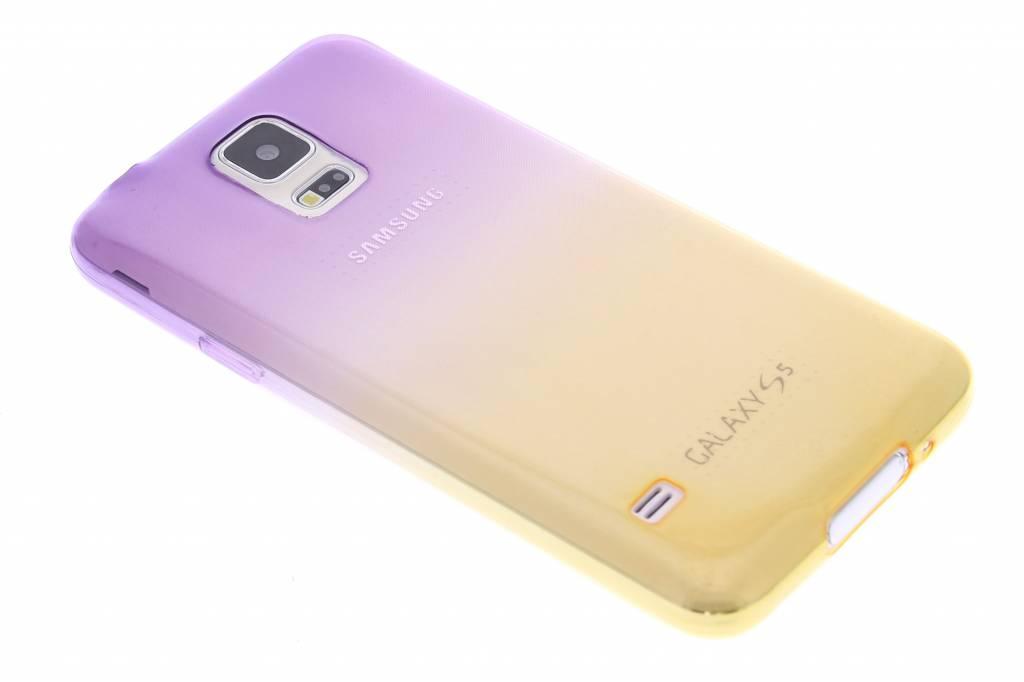Paars/geel tweekleurig transparant TPU siliconen hoesje voor de Samsung Galaxy S5 (Plus) / Neo
