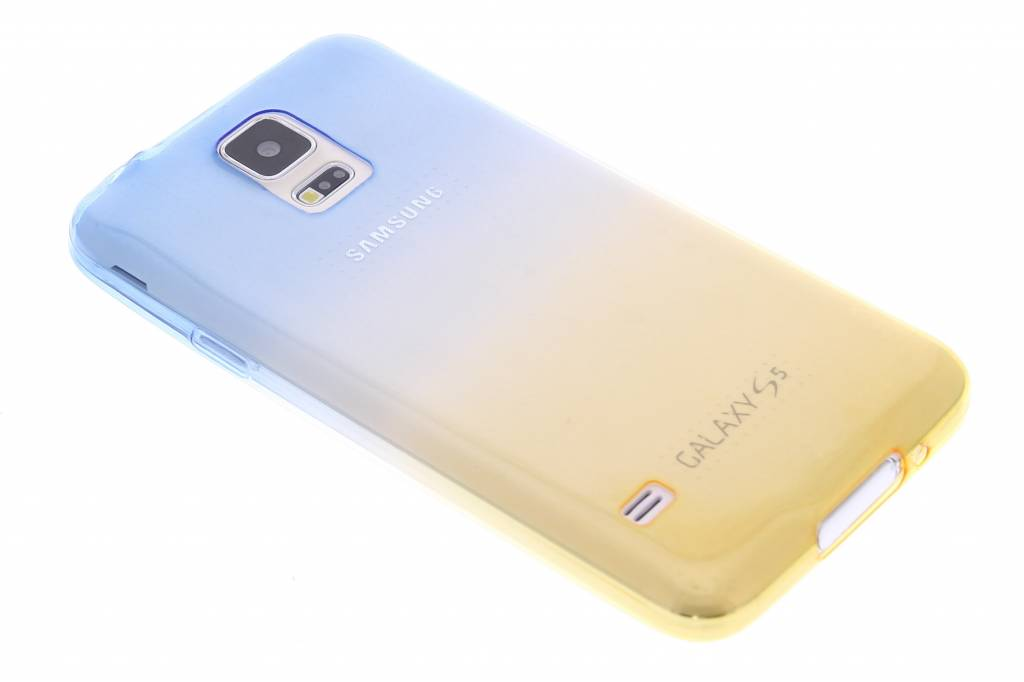 Blauw/geel tweekleurig transparant TPU siliconen hoesje voor Galaxy S5 (Plus) / Neo