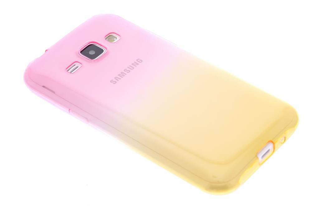 Roze/geel tweekleurig transparant TPU siliconen hoesje voor de Samsung Galaxy J1