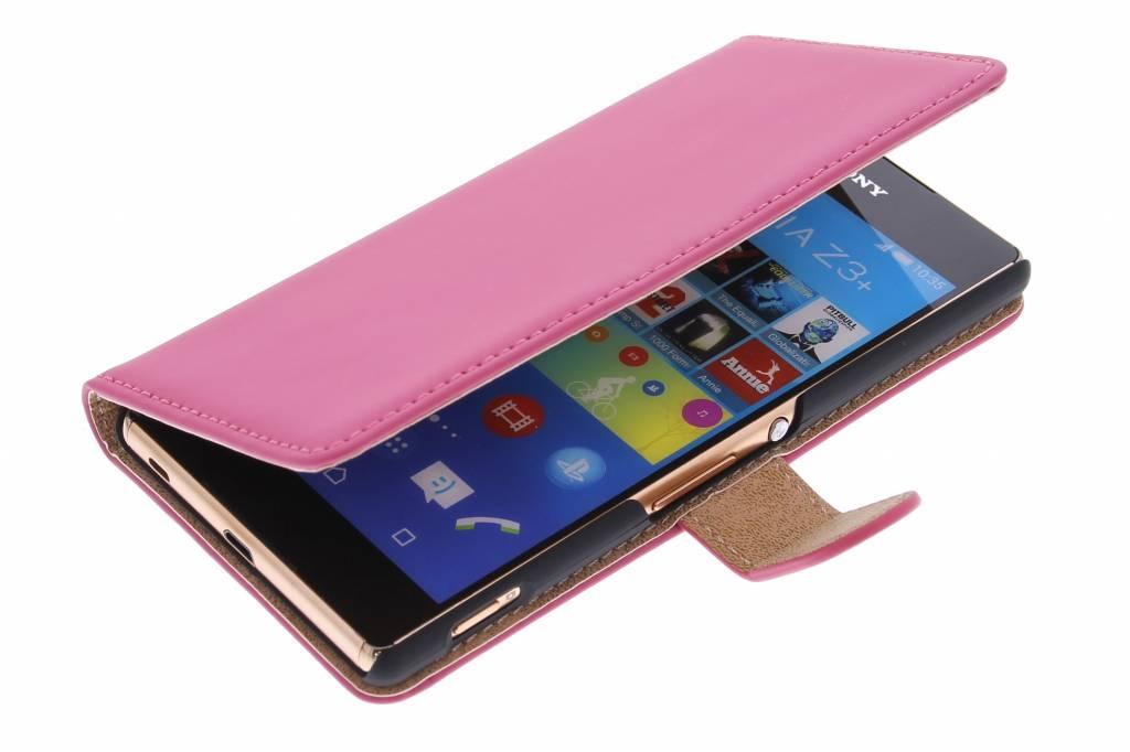 Cas De Livre De Luxe Pour Sony Xperia Z3 En Plus - Poudre Rose Wywca