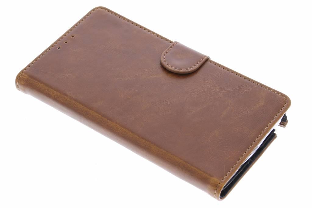 Kastanjebruine leder booktype hoes voor de Samsung Galaxy Note Edge