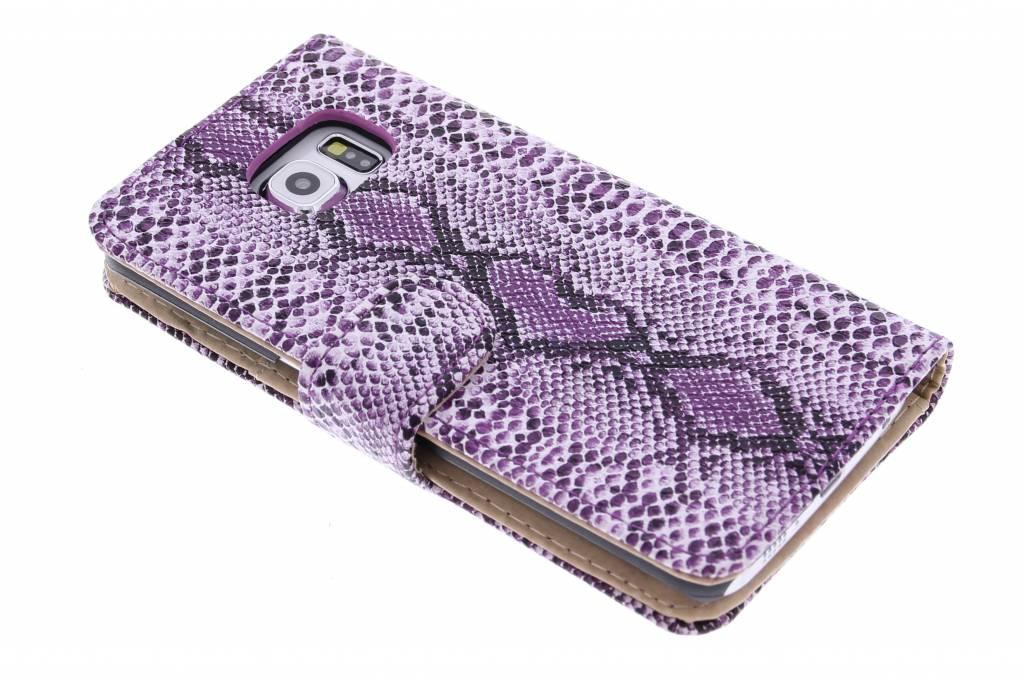 Paarse slangenprint design booktype hoes voor de Samsung Galaxy S6 Edge