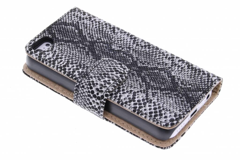 Grijze slangenprint design booktype hoes voor de iPhone 5c