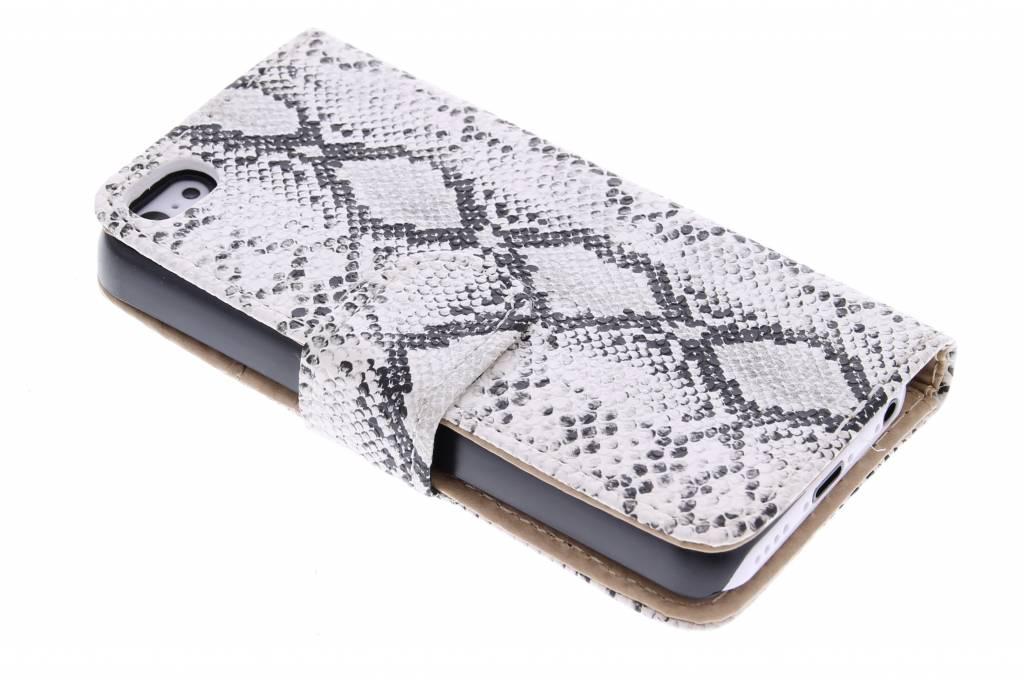 Witte slangenprint design booktype hoes voor de iPhone 5c