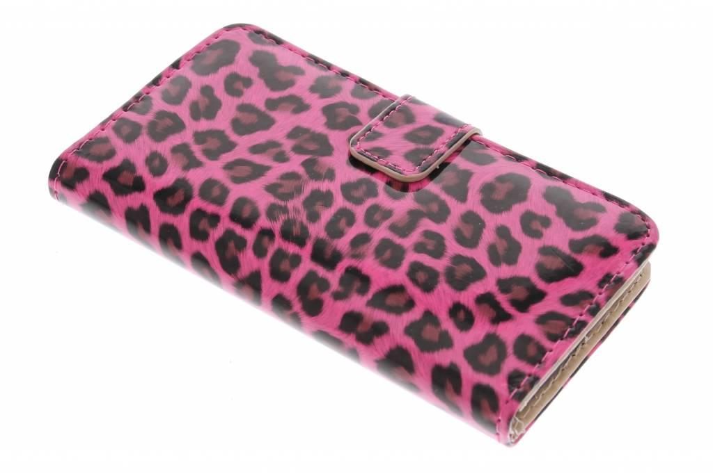 Fuchsia glanzende luipaard design booktype hoes voor de Samsung Galaxy S6 Edge