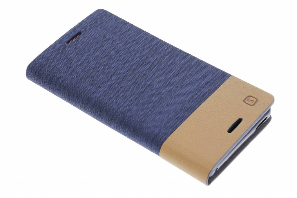 Donkerblauwe denim TPU booktype hoes voor de Sony Xperia M4 Aqua