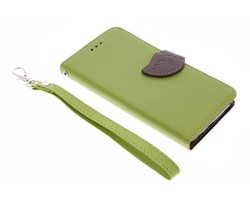 Groen blad design TPU booktype hoes Wiko Lenny