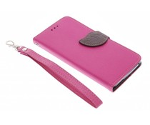 Roze blad design TPU booktype hoes Wiko Lenny
