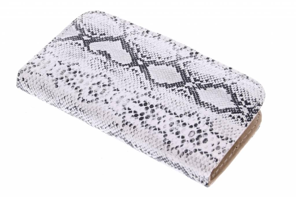 Witte slangenprint design booktype hoes voor de Samsung Galaxy S5 Mini