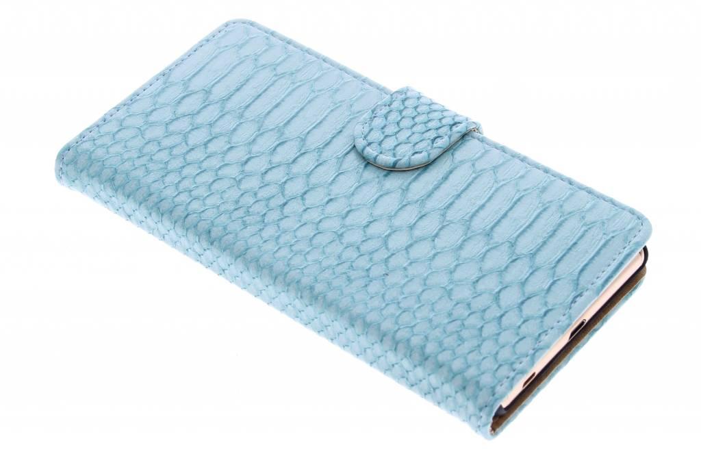 Turquoise slangen booktype hoes voor de Sony Xperia Z3 Plus