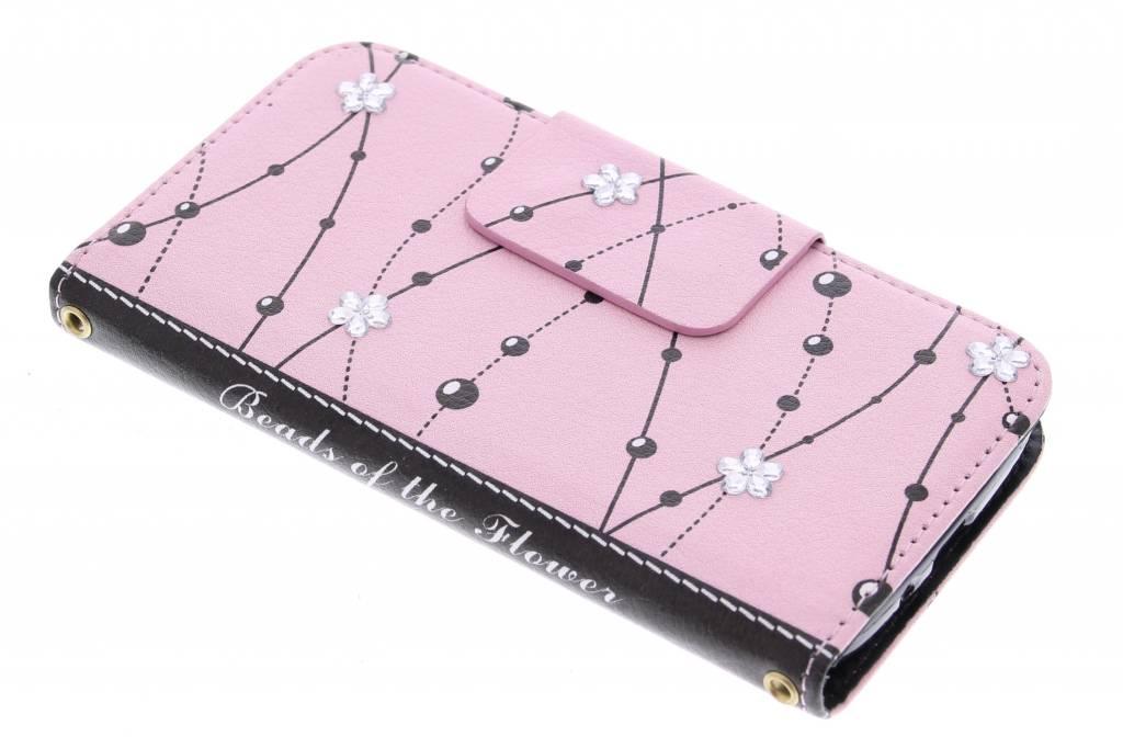 Roze flower beads TPU booktype hoes voor de Samsung Galaxy S4