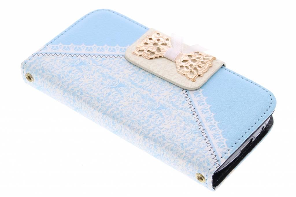 Blauwe sierlijke TPU booktype hoes voor de Samsung Galaxy S4 Mini