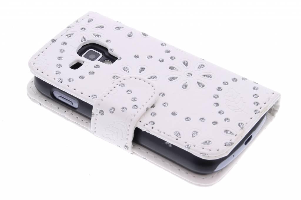 Witte bloemblad design booktype hoes voor de Samsung Galaxy S Duos / Trend (Plus)