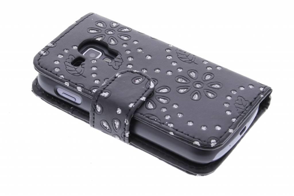 Zwarte bloemblad design booktype hoes voor de Samsung Galaxy S Duos / Trend (Plus)