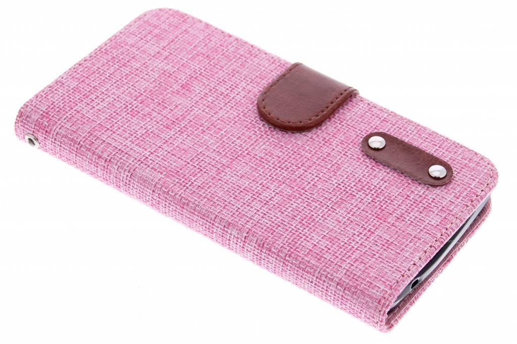 Roze linnen look TPU booktype hoes voor de Huawei Y635