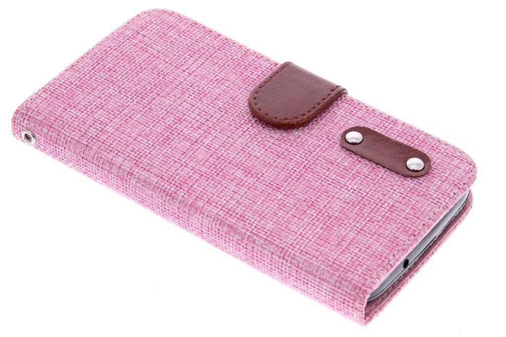 Roze linnen look TPU booktype hoes voor de Huawei Y625
