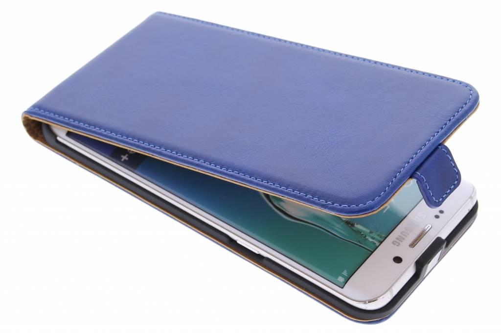 Selencia Luxe lederen Flipcase voor de Samsung Galaxy S6 Edge Plus - Blauw