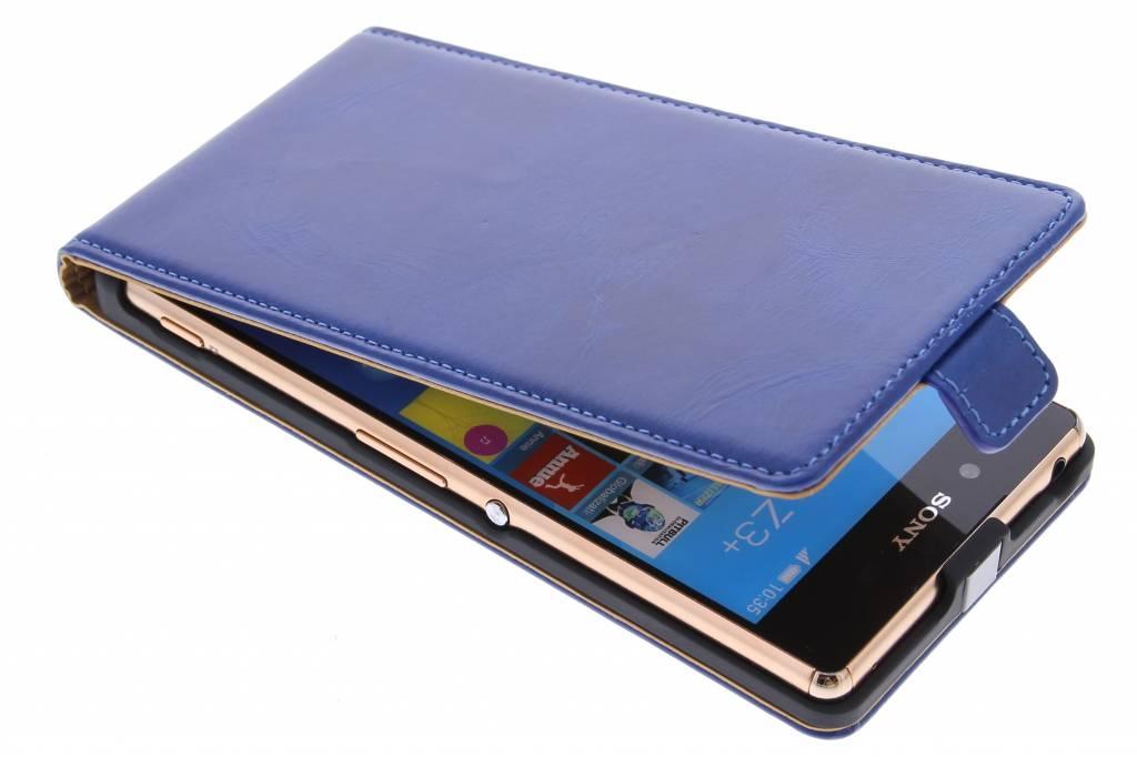 Selencia Luxe lederen Flipcase voor de Sony Xperia Z3 Plus - Blauw