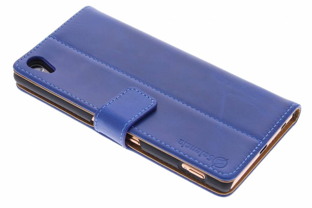 Selencia Luxe lederen Booktype hoes voor de Sony Xperia Z3 Plus - Blauw