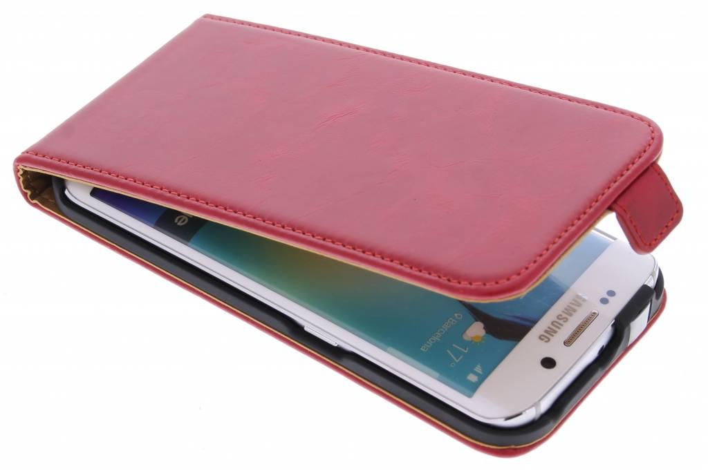 Selencia Luxe lederen Flipcase voor de Samsung Galaxy S6 Edge - Rood