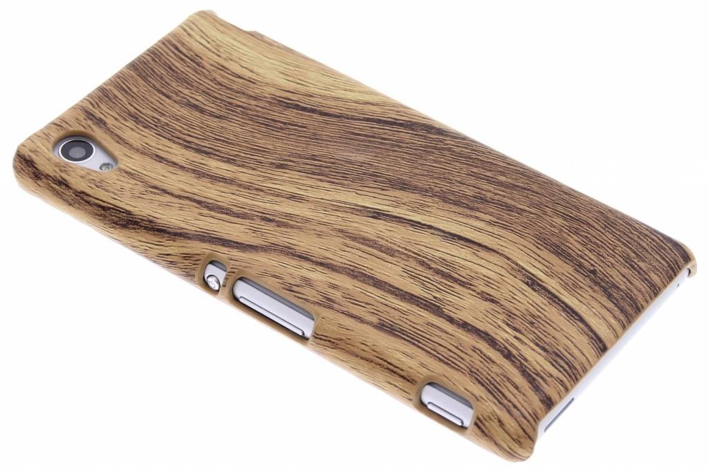 Lichtbruin hout design hardcase hoesje voor de Sony Xperia M4 Aqua