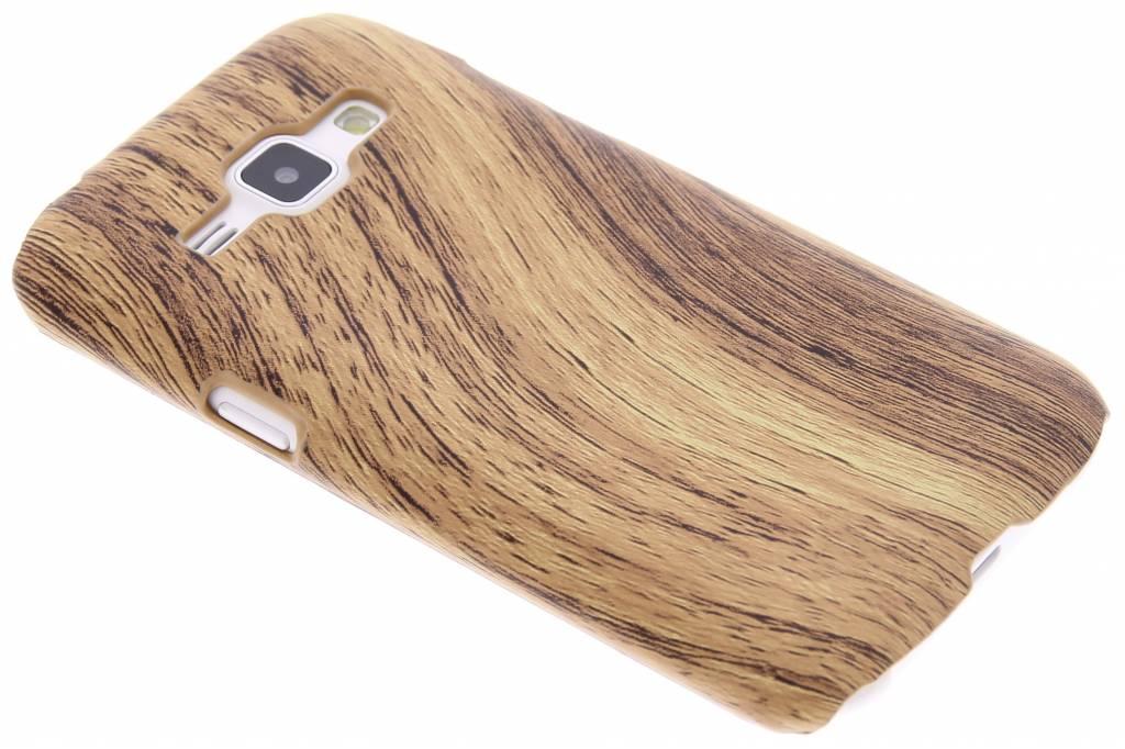 Lichtbruin hout design hardcase hoesje voor de Samsung Galaxy J1