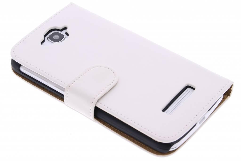Witte effen booktype hoes voor de Alcatel One Touch Pop C7