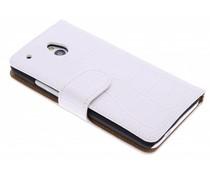 Wit krokodil booktype hoes HTC One Mini