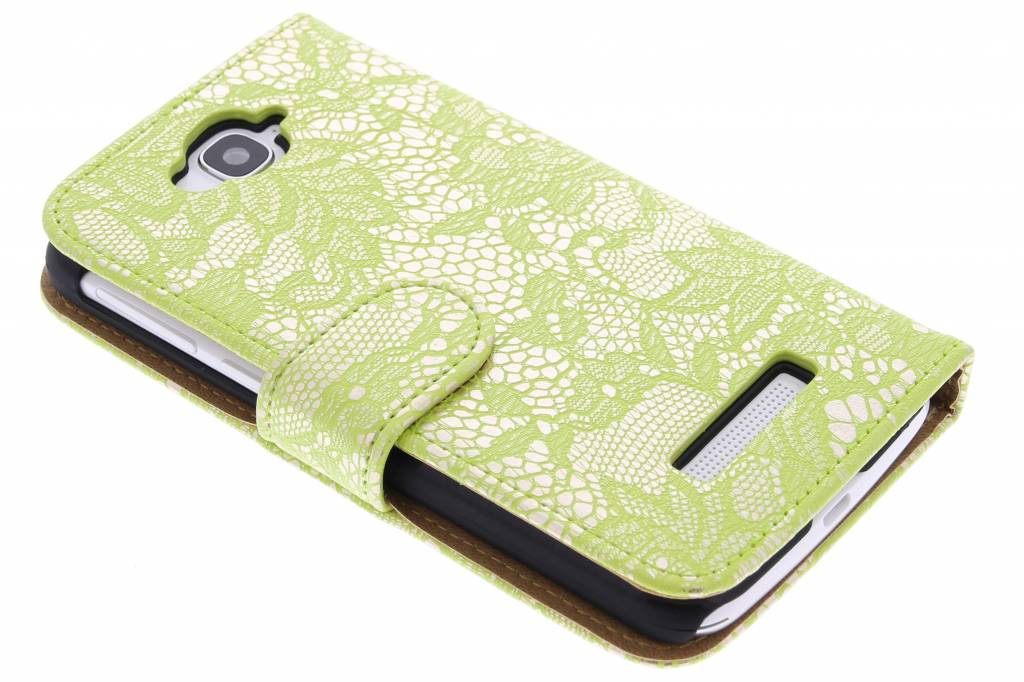Lichtgroene glamour booktype hoes voor de Alcatel One Touch Pop C7