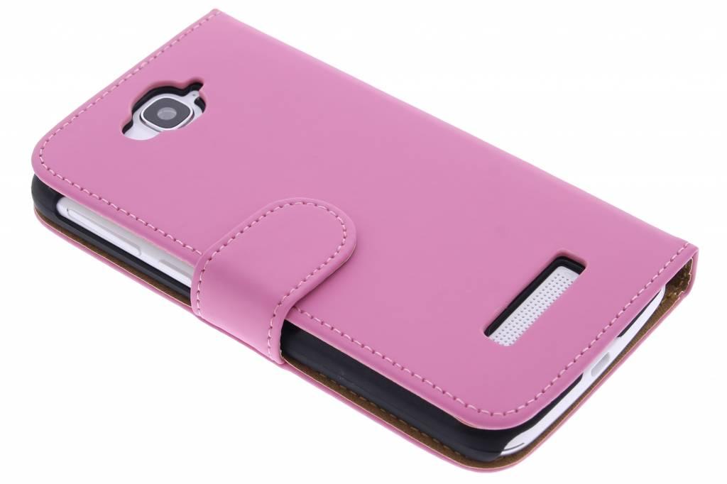 Roze effen booktype hoes voor de Alcatel One Touch Pop C7