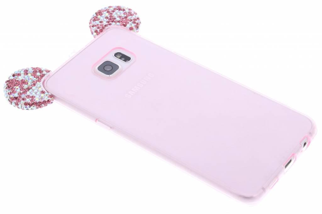 Roze glittermuis TPU hoesje met fuchsia strass oortjes voor de Samsung Galaxy S6 Edge