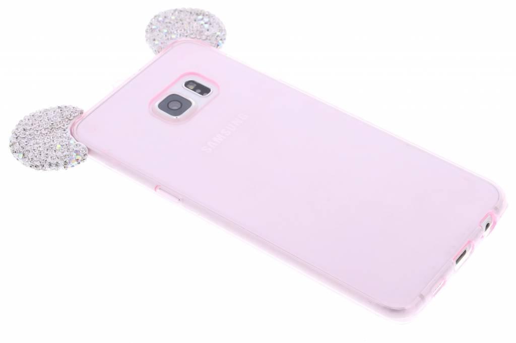 Roze glittermuis TPU hoesje met zilveren strass oortjes voor de Samsung Galaxy S6 Edge