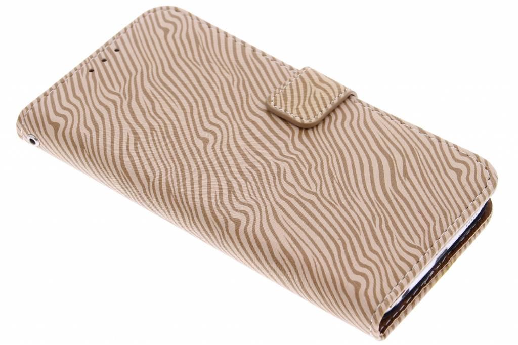 Lichtbruine luxe zebra booktype hoes voor de Samsung Galaxy S6