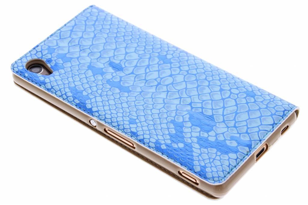 Luxe Bleu Serpents Case Booktype Tpu Pour Sony Xperia, Plus Z3