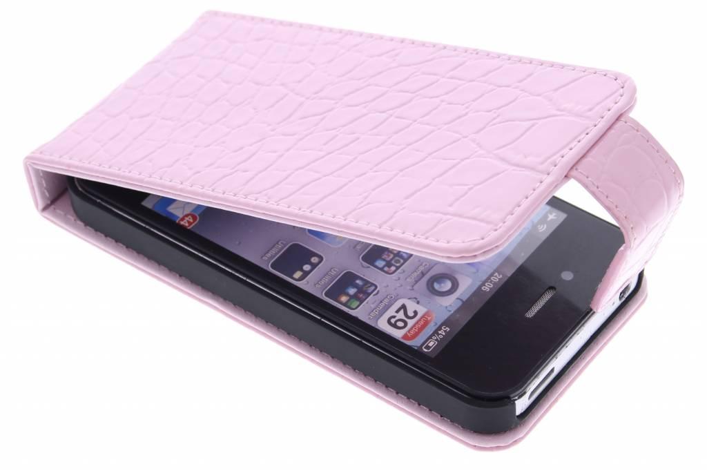 Roze krokodil flipcase voor de iPhone 4 / 4s