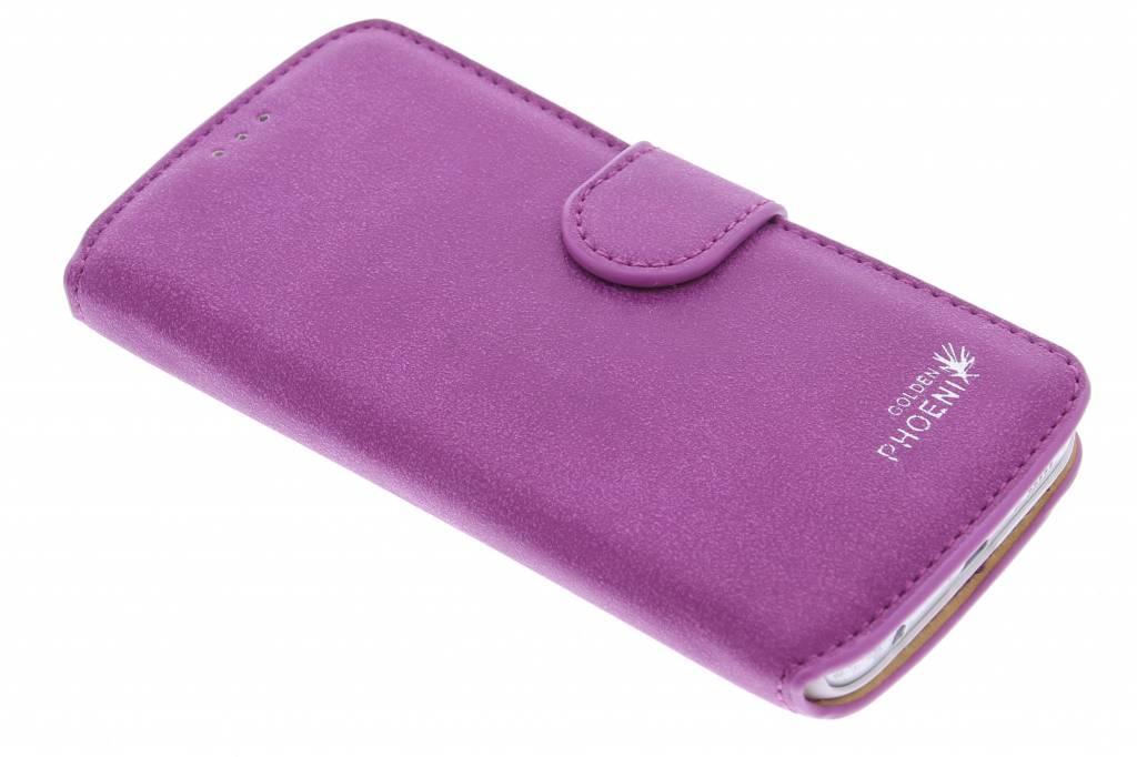 Paarse luxe suède booktype Samsung Galaxy S6 Edge