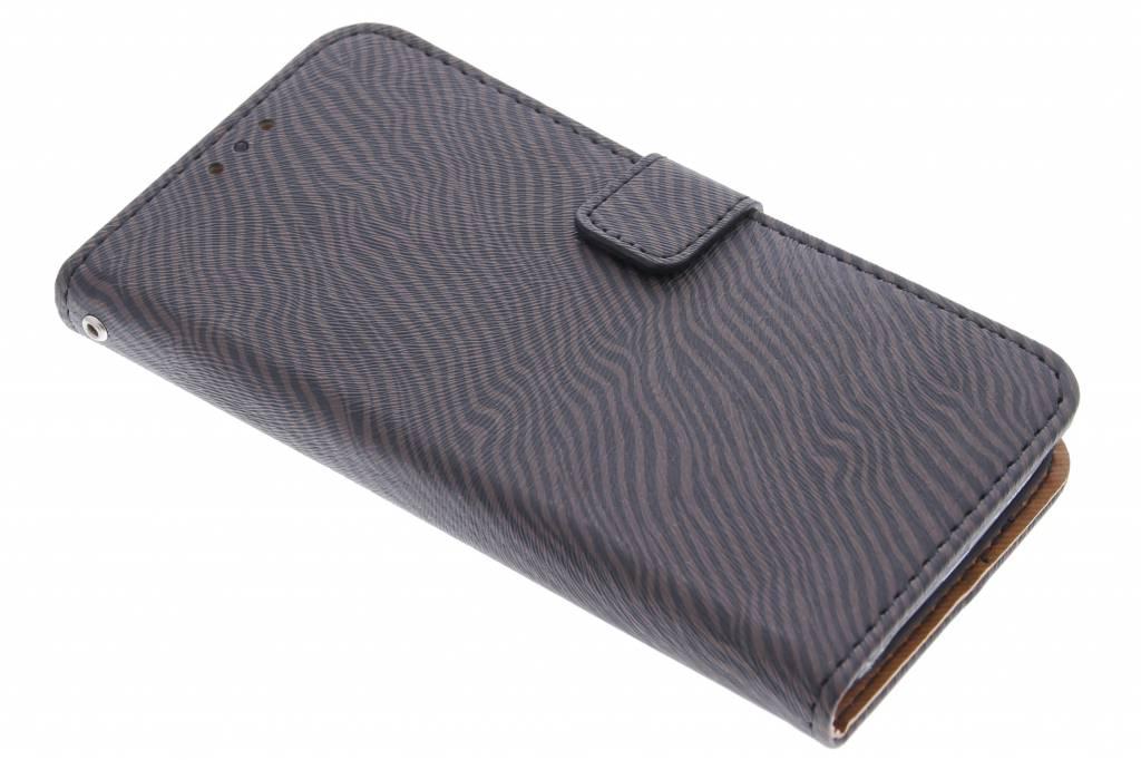 Donkerbruine luxe zebra booktype hoes voor de Samsung Galaxy S6 Edge