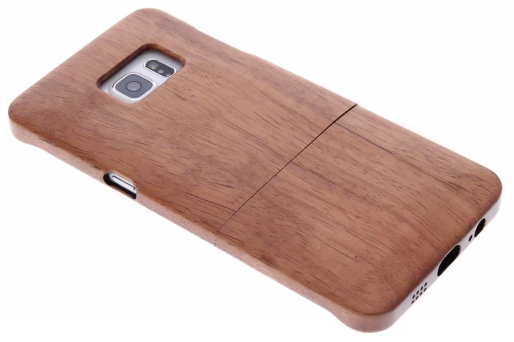 Donkerbruin echt houten hardcase hoesjes voor de Samsung Galaxy S6 Edge Plus