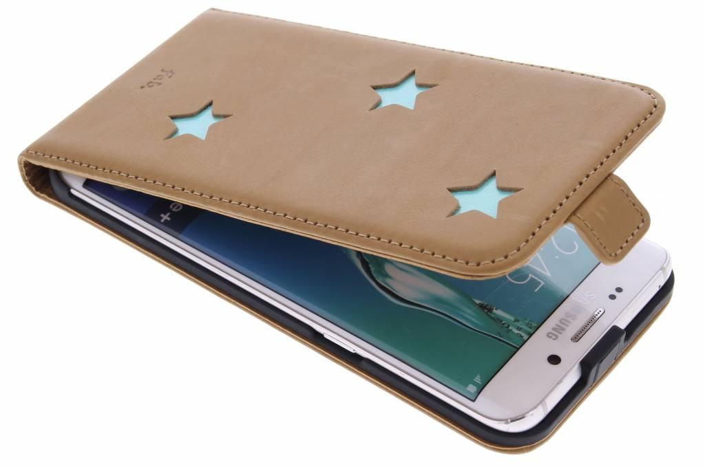 Fab. Aqua Reversed Star Flipcase voor de Samsung Galaxy S6 Edge Plus