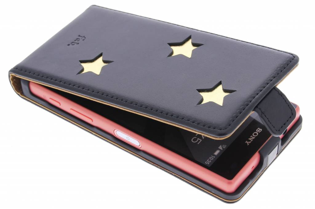 Fab. Gold Reversed Star Flipcase voor de Sony Xperia Z5 Compact