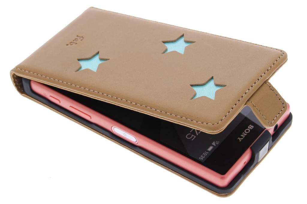 Fab. Aqua Reversed Star Flipcase voor de Sony Xperia Z5 Compact