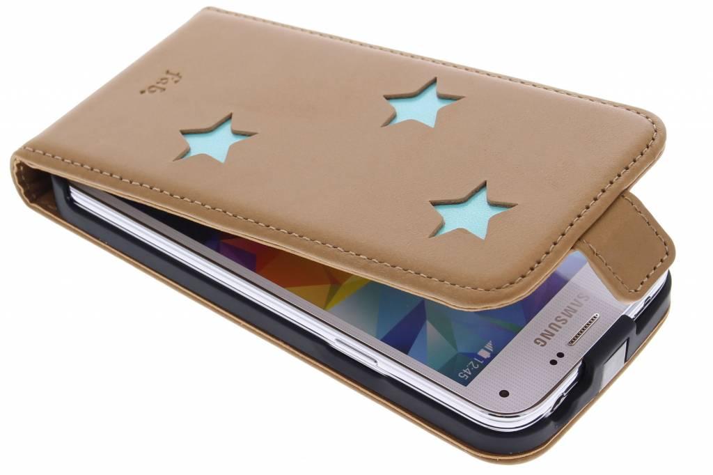 Fab. Aqua Reversed Star Flipcase voor de Samsung Galaxy S5 Mini
