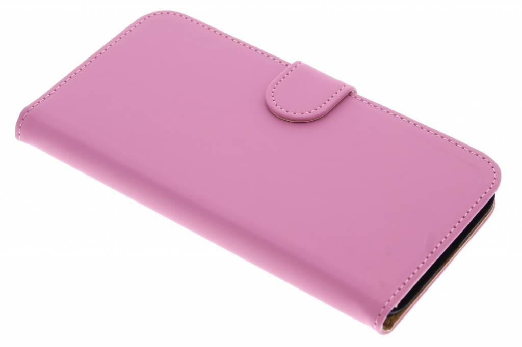 Roze effen booktype hoes voor de Huawei G8