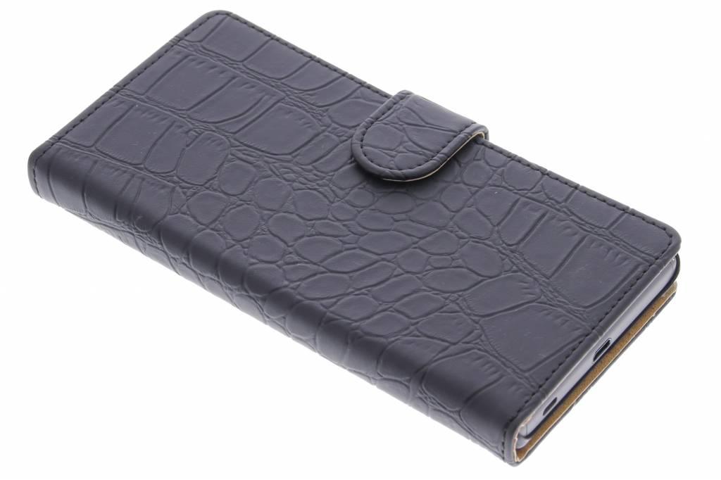 Zwarte krokodil booktype hoes voor de Sony Xperia Z5