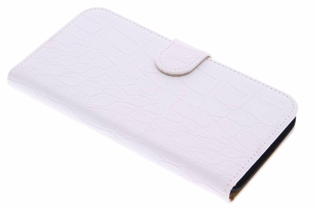 Witte krokodil booktype hoes voor de Huawei G8