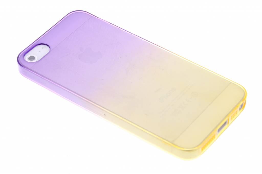 Paars/geel tweekleurig transparant TPU siliconen hoesje voor de iPhone 5 / 5s / SE